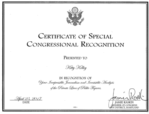 certificate of special congressional recognition kitty kelley